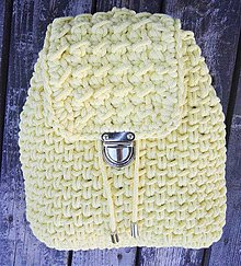 Batohy - Háčkovaný ruksak žltý - 10853209_