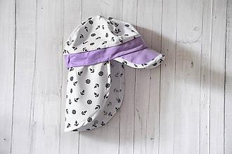 Detské čiapky - Kotvičková šiltovka s plachtičkou proti slnku-lila - 10855151_