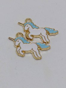 Komponenty - Prívesok - zvieratko (Jednorožec modrý 20 mm) - 10853427_