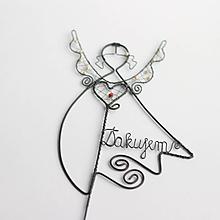 """Dekorácie - anjel ako zápich do kvetináčika (s nápisom  """"Ďakujem"""") - 10857363_"""