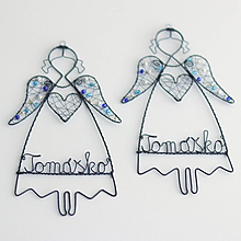 Dekorácie - anjelik s menom (Modrá) - 10857384_