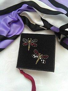 Papiernictvo - Motýliky (ručne vyšívaný zápisníček) - 10856029_