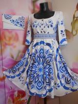 """Šaty - FLORAL FOLK """" Slovenská ornamentika"""" midi šaty v modrom - 10855385_"""