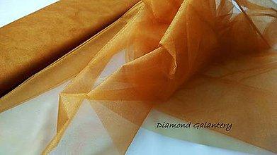 Textil - Tyl s leskom - hnedo zlatá (Medená) - 10856633_
