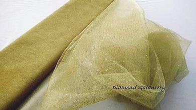 Textil - Tyl s leskom - hnedo zlatá (Zlatá) - 10856639_