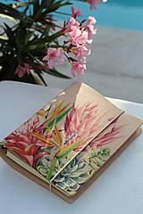 Papiernictvo - Kožený zápisník/karisblok TROPICAL PROTEA A5 - 10855877_