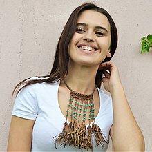 Náhrdelníky - Kožený náhrdelník, šperky v egyptskom štýle - 10857682_