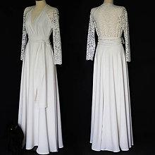 Šaty - Spoločenské šaty s krajkovým chrbátom rôzne farby vhodné pre väčšie čísla - 10856799_