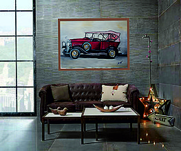 Obrazy - Vintage autíčko - 10857997_