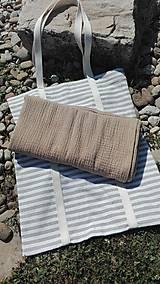- Bavlnená plážová taška s osuškou z dvojitej gázoviny - 10856865_