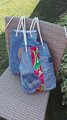 Batohy - Plážový rifľový vak / taška 2 v 1 - 10855389_