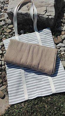 Iné tašky - Bavlnená plážová taška s osuškou z dvojitej gázoviny - 10856865_