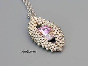 Náhrdelníky - Prívesok - Swarovski oko ružové-biele - 10857585_