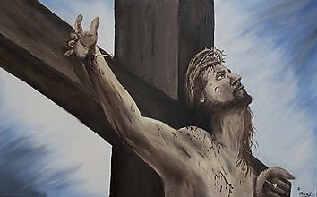 Obrazy - Portrét Ježiša na Kríži - 10857665_