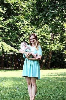Šaty - Šaty na dojčenie- strih EVA- svetlomodrá mint - 10857279_