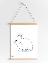 Detské doplnky - Art Print - biely zajko - 10856216_