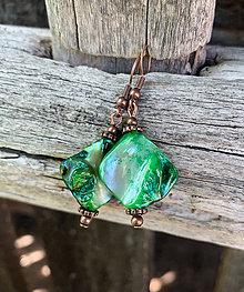 Náušnice - Zelená perleť - náušnice - 10857703_