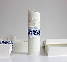 Svietidlá a sviečky - Sviečka na krst s ľudovým motívom - 10858016_