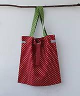 Nákupné tašky - Eko nakupovačka FILKI skladacia (červená s bielymi bodkami a zeleným uchom) - 10855222_