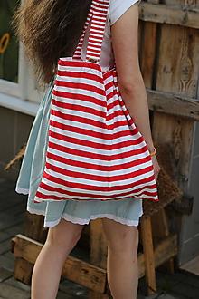 Nákupné tašky - Eko nakupovačka FILKI skladacia (červeno-biela prúžkovaná) - 10855214_