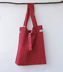 Nákupné tašky - Eko nakupovačka FILKI skladacia (červená s bielymi bodkami) - 10855223_