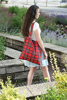 Nákupné tašky - Eko nakupovačka FILKI skladacia (červená škótska kocka) - 10855226_