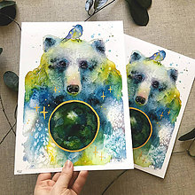 Obrazy - Medveď a planéta, (ART PRINT) akvarel - 10855424_