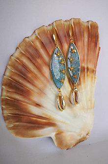 Náušnice - Živicové náušnice s morskými hviezdicami a mušľami, nerezová oceľ - 10857590_