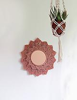 """Zrkadlá - Makramé zrkadlo """"rúžovo-medené slniečko"""" - 10858778_"""