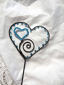 Dekorácie - od srdca ....zápich (Tyrkysová) - 10858361_