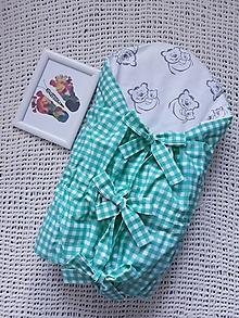 Textil - Perinka s mackom - zelené káro - 10859082_