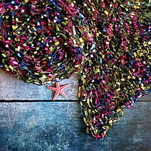 Šály - Z letní louky   čipkovaný pletený šál / pléd - 10859047_