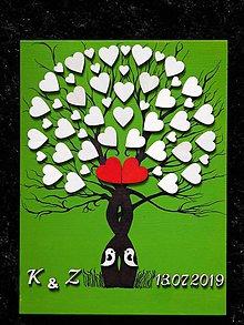 Dekorácie - svadobná kniha hostí/ maľovaný strom 32 - 10859257_