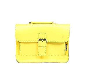 Kabelky - Malá kožená kabelka žlutá OLY - 10859401_