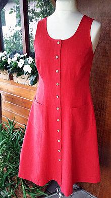 Šaty - Ľanové šaty na zapínanie - 10860375_