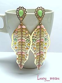 Náušnice - Náušničky zlaté listy-perleťové :) - 10858687_