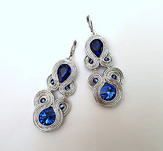Náušnice - Strieborno - modré náušnice - 10858535_