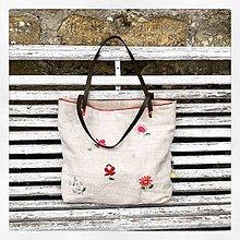 Veľké tašky - Veľká ľanovo bavlnená ručne vyšívaná taške - 10858769_
