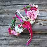 Ozdoby do vlasov - Venček ružový, cyklámenový - 10861997_