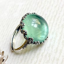 Prstene - Ag925 Strieborný prsteň s kvetmi a zeleným fluoritom - 10862866_