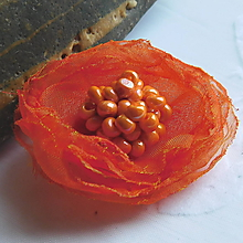 Odznaky/Brošne - oranž ružička - 10862585_