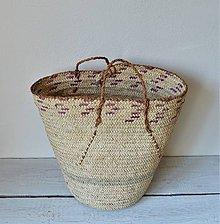 Košíky - Pletený palmový kôš (Fialový kôš) - 10861249_