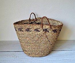 Košíky - Pletený palmový kôš (Fialový kôš) - 10861343_