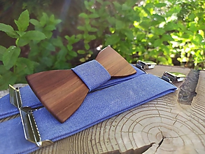 Doplnky - Pánsky drevený motýlik a traky - 10861611_