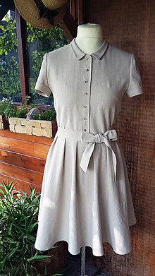 Šaty - Ľanové retro šaty - 10862524_