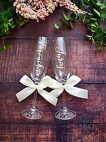 Nádoby - Svadobné poháre s menom-zvislo - 10862902_