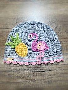 Detské čiapky - Plameniak na ciapočke - 10863132_