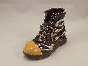 Dekorácie - Topánka Martens (stojan na perá, stojan na štetce, ťažítko, kvetináč) (Hnedá) - 10861479_