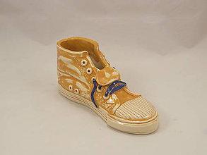 Dekorácie - Teniska Converse (stojan na perá, stojan na štetce, ťažítko, kvetináč) (Žltá) - 10861490_