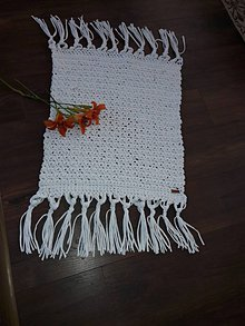 """Úžitkový textil - Hačkovaný koberec """"simple snow white"""" - 10862557_"""
